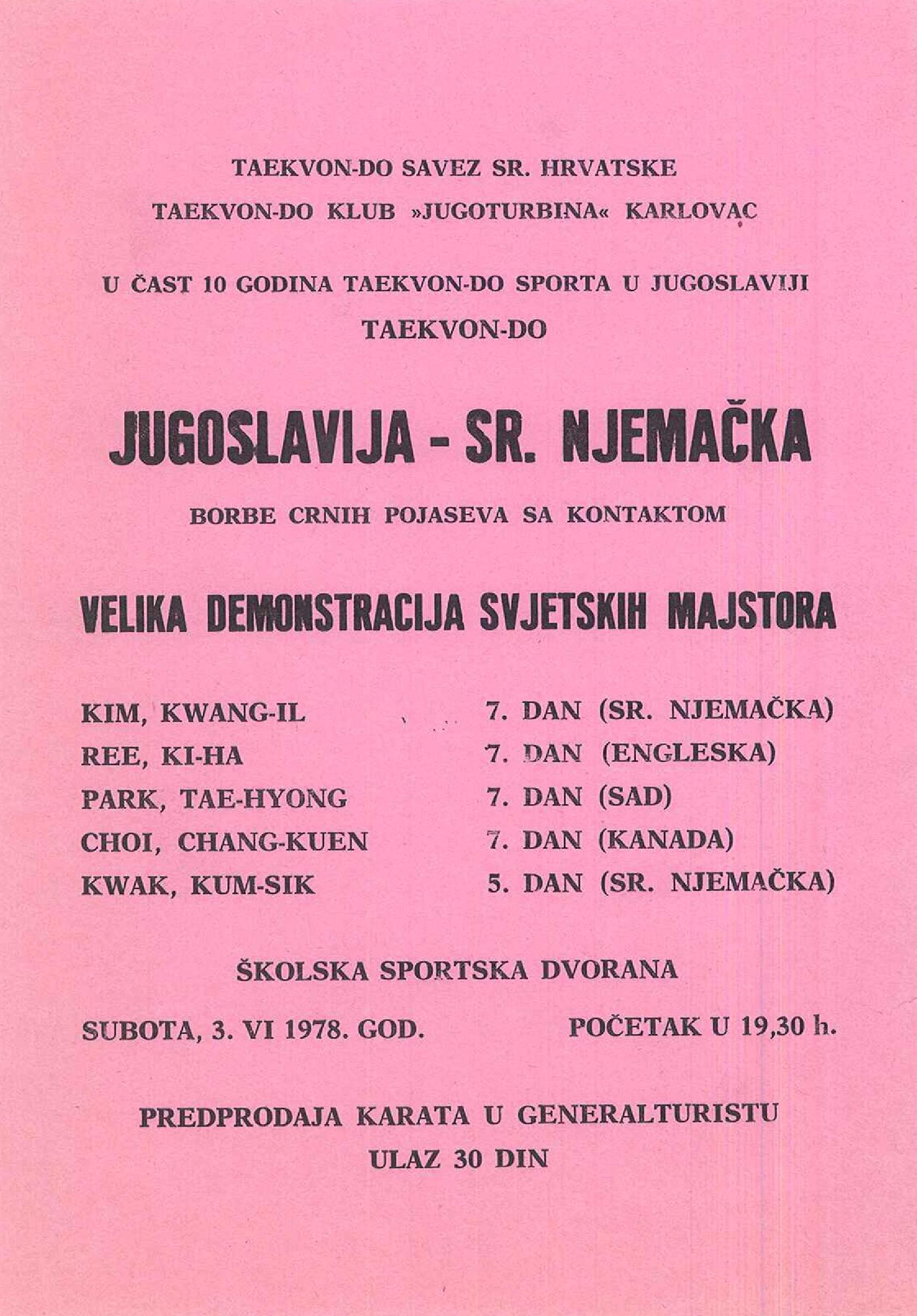 Jugoslavija – SR Njemačka